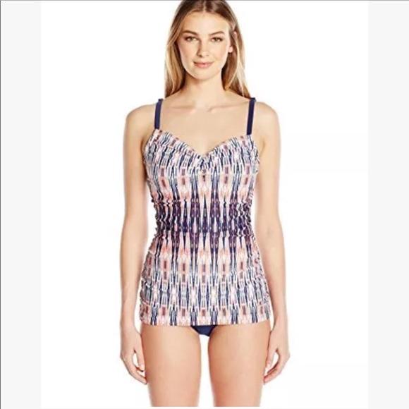 47861c9c4dff7 Jones New York Swim | Graphic Ikat Shirred Suit 14 | Poshmark